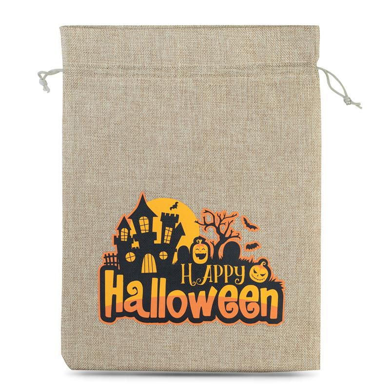 1 szt. Woreczek Halloween (nr 1) jutowy, 40 x 55 cm - naturalny Woreczki jutowe