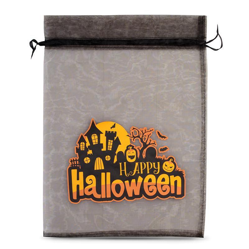 1 szt. Woreczek Halloween (nr 1) z organzy 30 x 40 cm - czarny