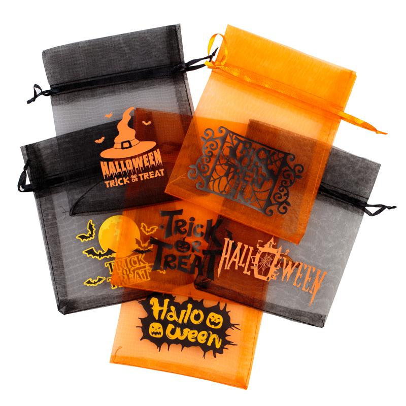 10 szt. Woreczki Halloween z organzy 12 x 15 cm - mix wzorów i kolorów