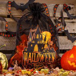 1 szt. Woreczek Halloween (nr 2) z organzy 40 x 55 cm - czarny Woreczki z organzy