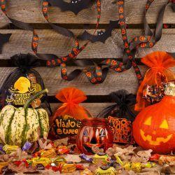 25 szt. Woreczki Halloween z organzy 12 x 15 cm - mix wzorów i kolorów Woreczki z organzy