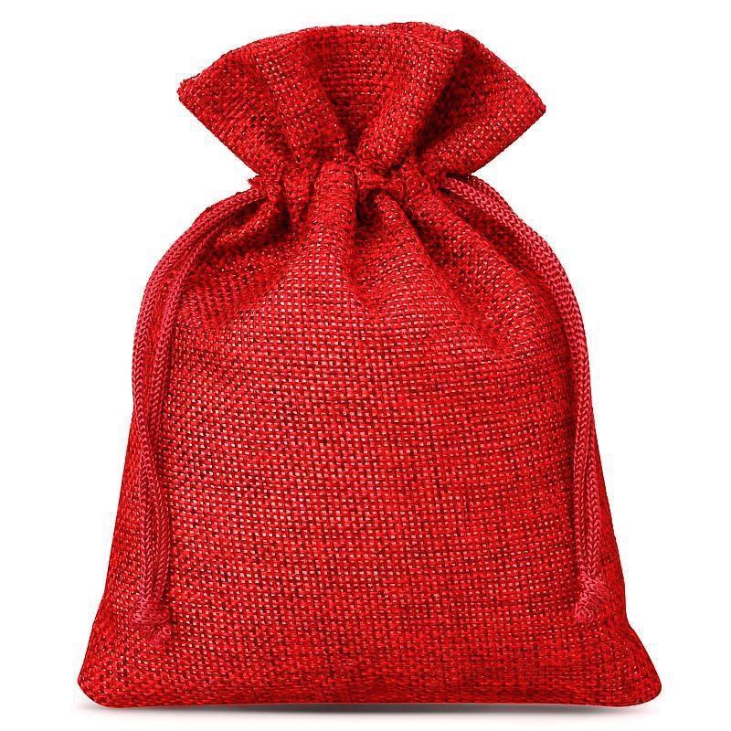 10 szt. Woreczki jutowe 9 x 12 cm - czerwone