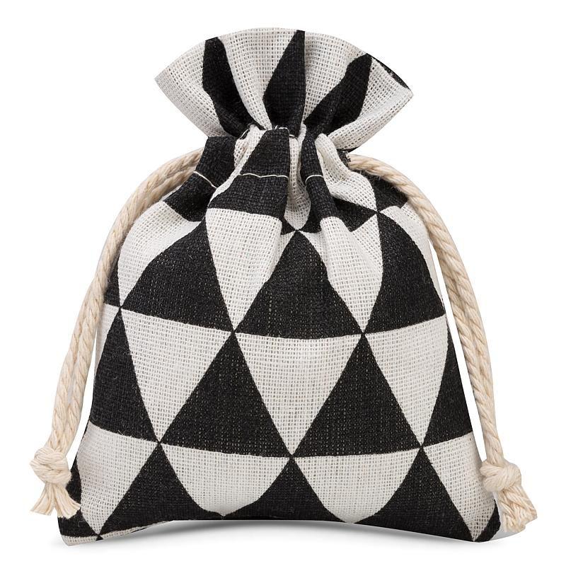 3 szt. Woreczki lniane z nadrukiem 12 x 15 cm - naturalne / czarne trójkąty