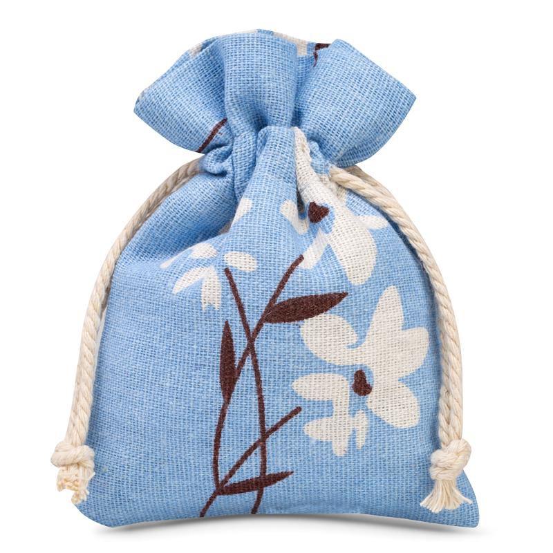 3 szt. Woreczki lniane z nadrukiem 12 x 15 cm - niebieskie kwiaty