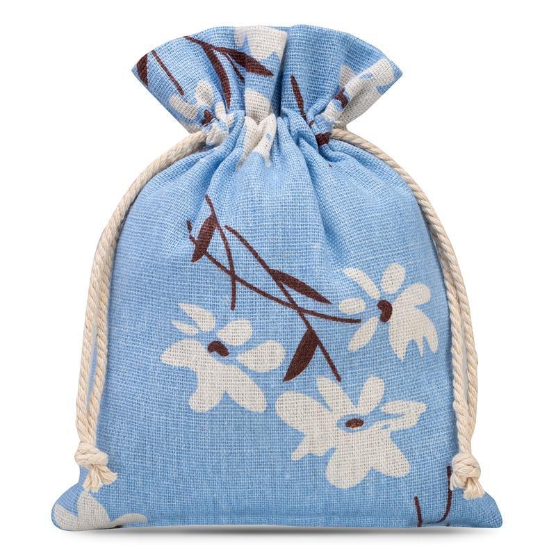 3 szt. Woreczki lniane z nadrukiem 13 x 18 cm - niebieskie kwiaty