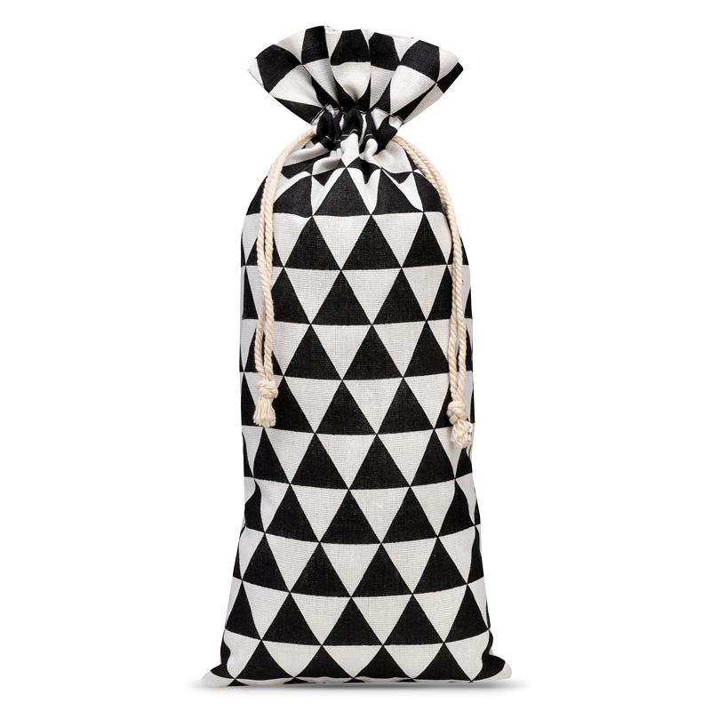 1 szt. Woreczek lniany z nadrukiem 16 x 37 cm - naturalne / czarne trójkąty