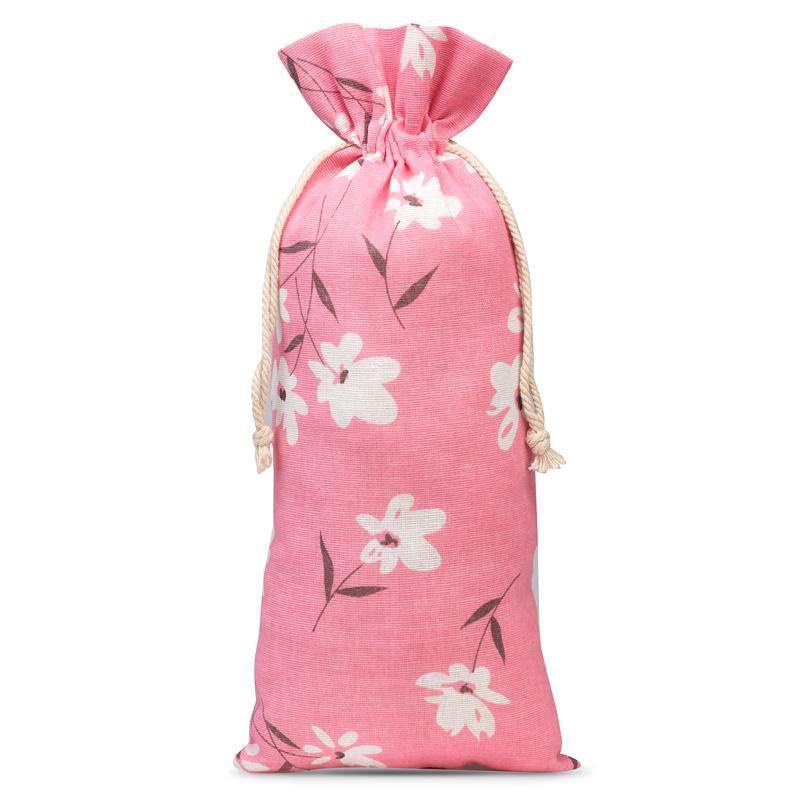 1 szt. Woreczek lniany z nadrukiem 16 x 37 cm - różowe kwiaty