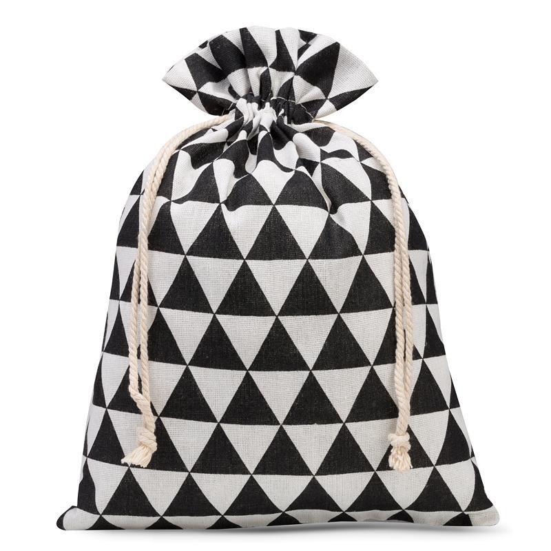 1 szt. Woreczek lniany z nadrukiem 22 x 30 cm - naturalne / czarne trójkąty