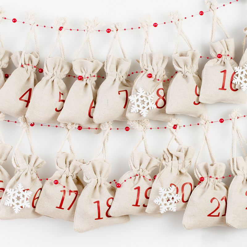 Kalendarz adwentowy, 24 woreczki lniane 12 x 15 cm - naturalne