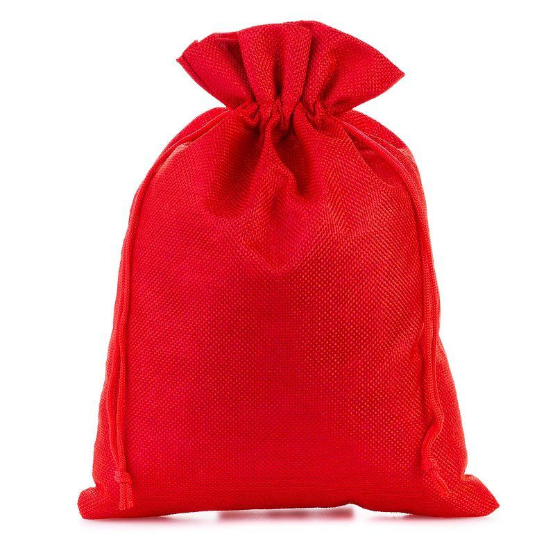 3 szt. Woreczki jutowe 22 x 30 cm - czerwone