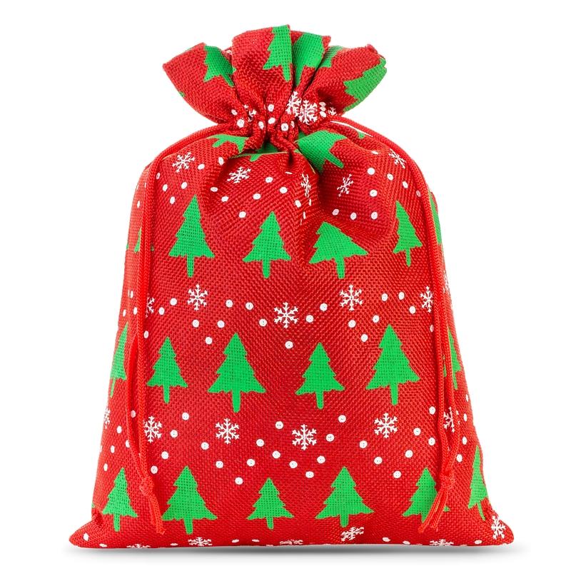 1 szt. Woreczek jutowy z nadrukiem 26 x 35 cm - czerwony / choinka Woreczki na Boże Narodzenie