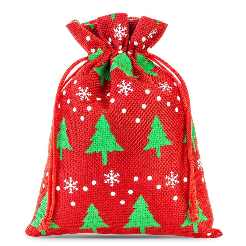 10 szt. Woreczki jutowe z nadrukiem 12 x 15 cm - czerwone / choinka Woreczki na Boże Narodzenie