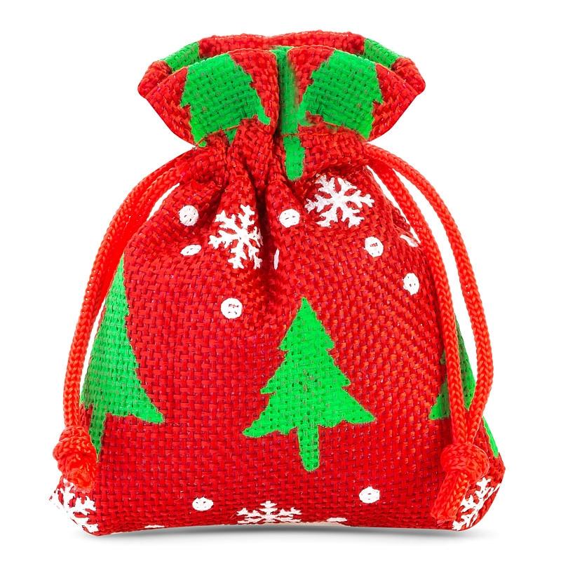 10 szt. Woreczki jutowe z nadrukiem 8 x 10 cm - czerwone / choinka Woreczki na Boże Narodzenie