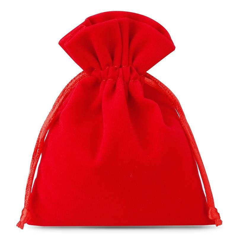 10 szt. Woreczki welurowe 9 x 12 cm - czerwone