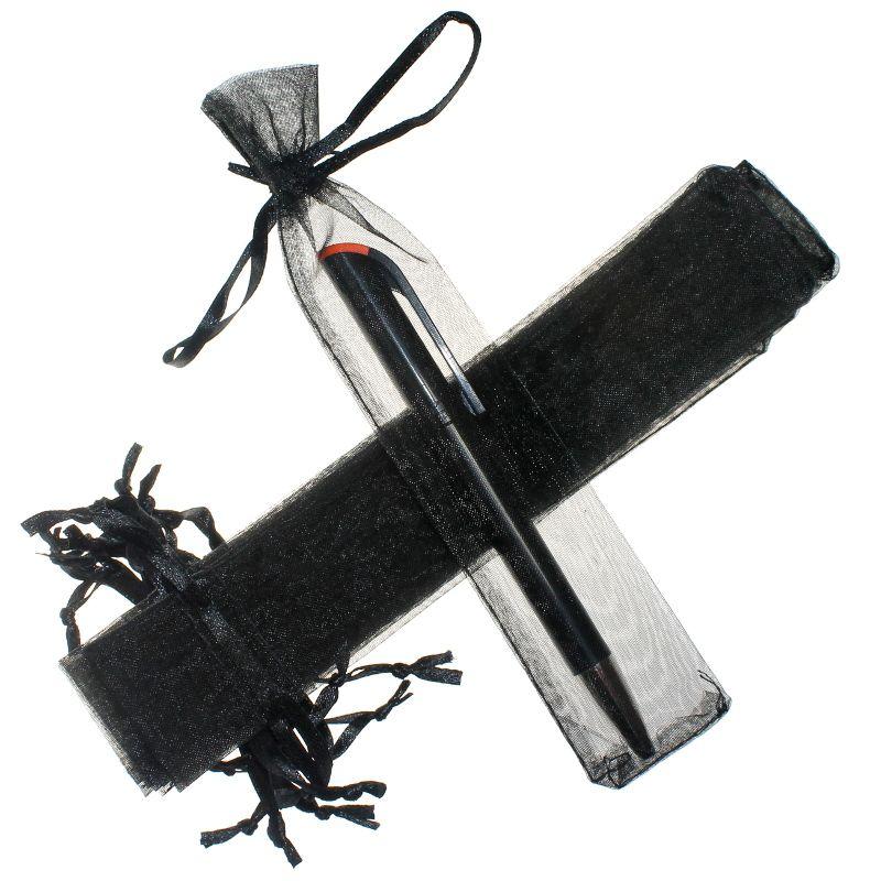 25 szt. Woreczki z organzy 3,5 x 19 cm - czarne