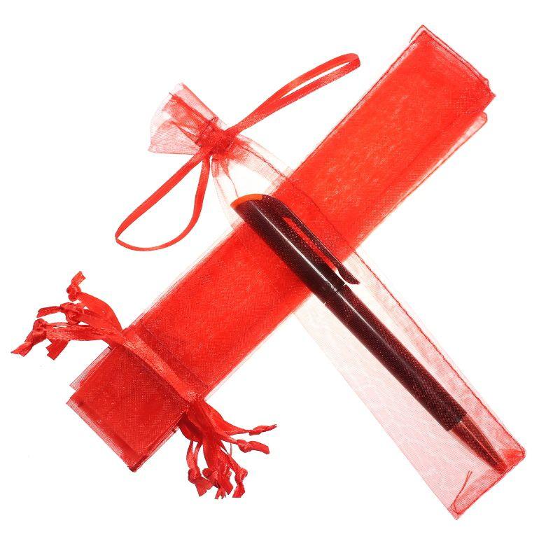 25 szt. Woreczki z organzy 3,5 x 19 cm - czerwone