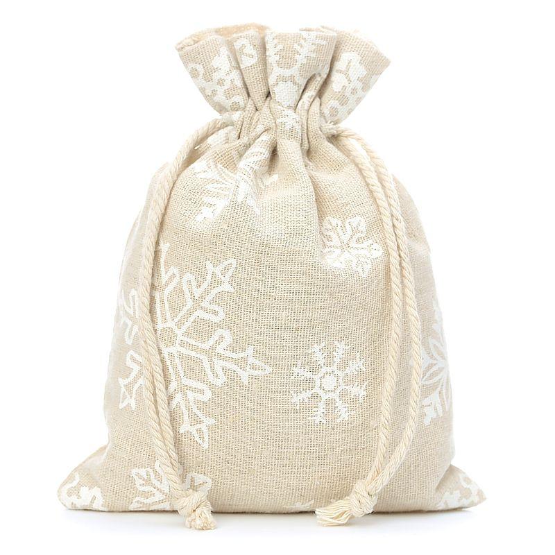 5 szt. Woreczki lniane z nadrukiem 18 x 24 cm - naturalne / śnieg