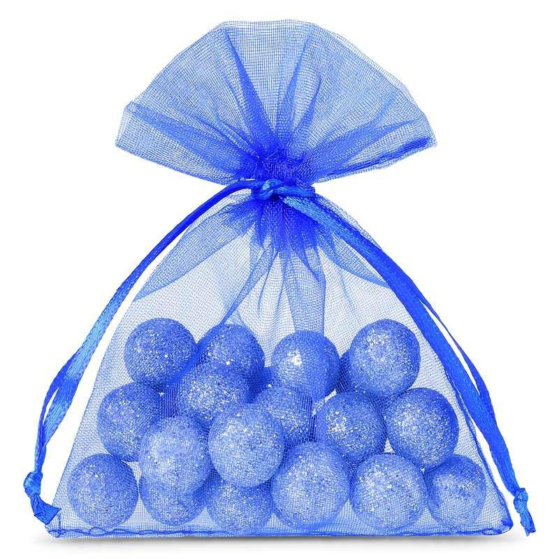 25 szt. Woreczki z organzy 9 x 12 cm - niebieskie
