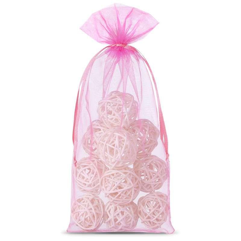 10 szt. Woreczki z organzy 13 x 27 cm - różowe