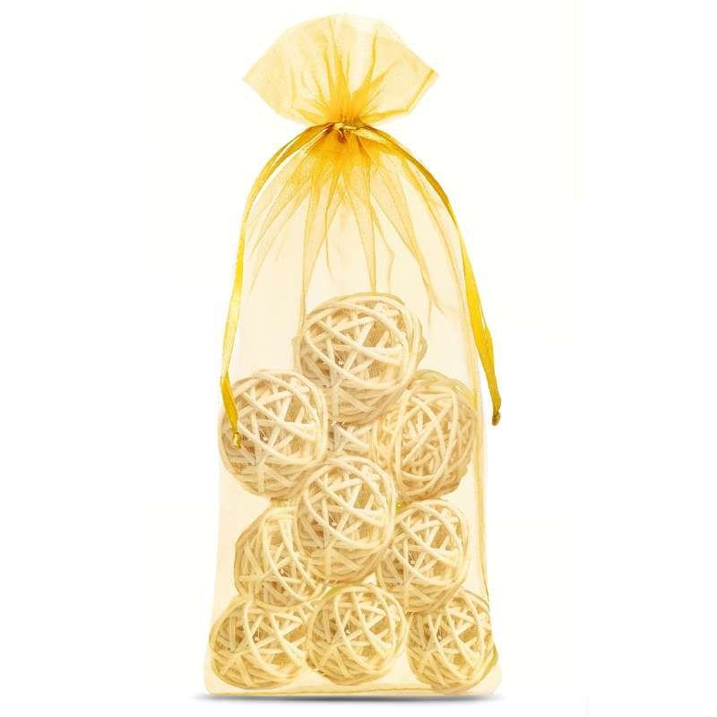 10 szt. Woreczki z organzy 16 x 37 cm - złote
