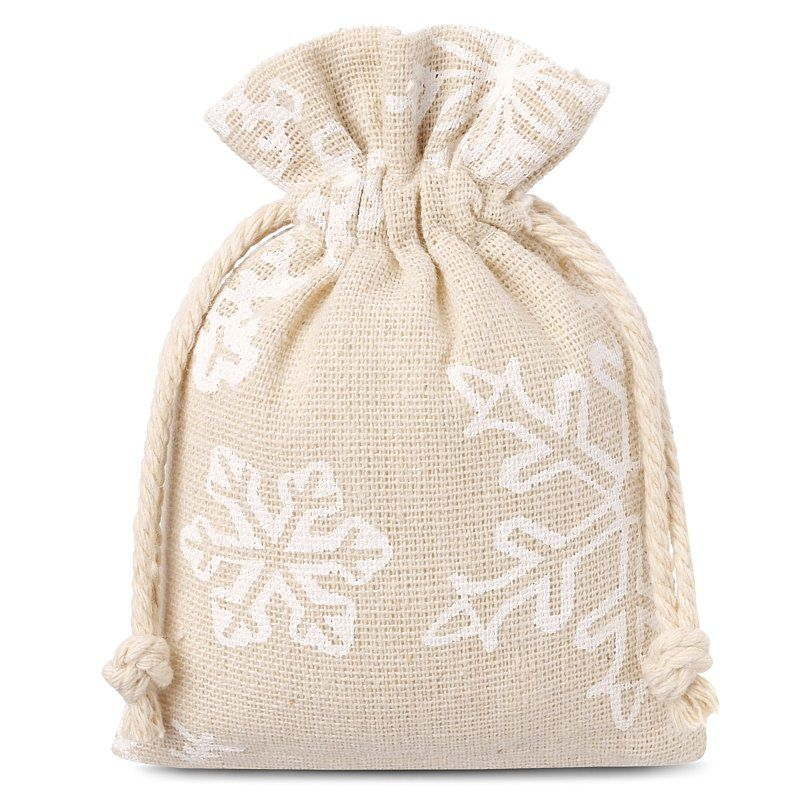 10 szt. Woreczki lniane z nadrukiem 8 x 10 cm - naturalne / śnieg