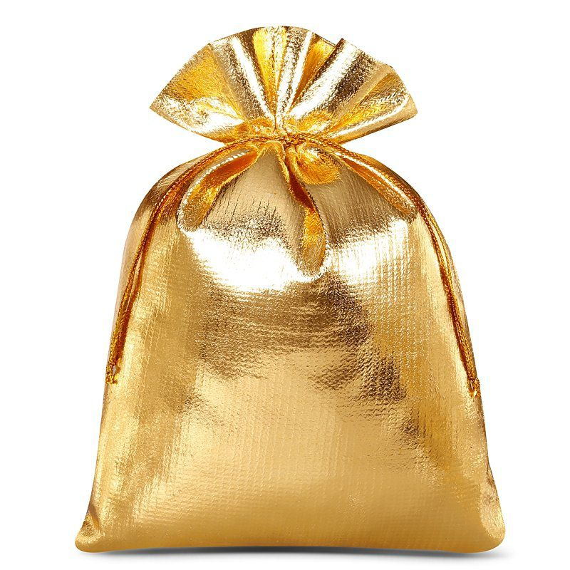 10 szt. Woreczki metaliczne 15 x 20 cm - złote