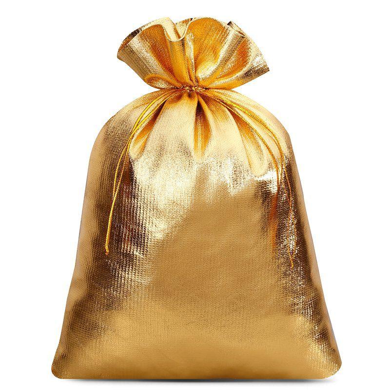 10 szt. Woreczki metaliczne 18 x 24 cm - złote