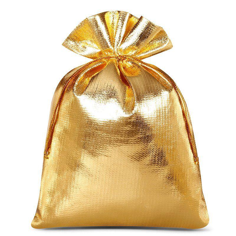 10 szt. Woreczki metaliczne 13 x 18 cm - złote