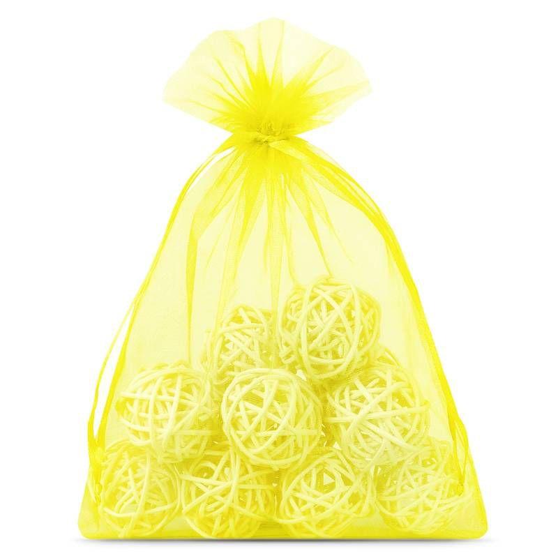10 szt. Woreczki z organzy 15 x 20 cm - żółte