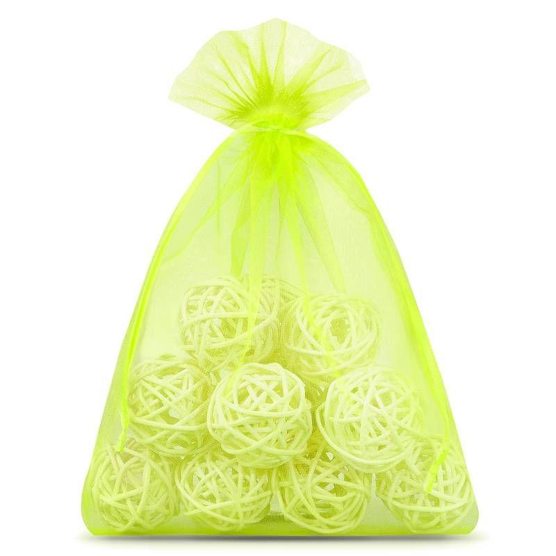 10 szt. Woreczki z organzy 15 x 20 cm - zielone neonowe