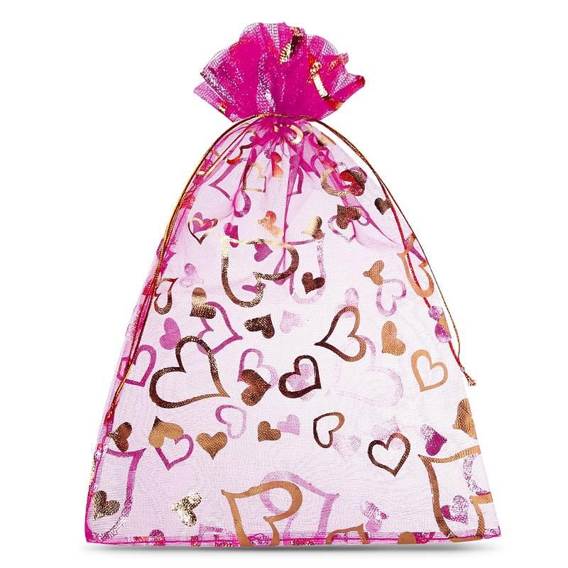 25 szt. Woreczki z organzy 13 x 18 cm - różowe ciemne z nadrukiem - serce