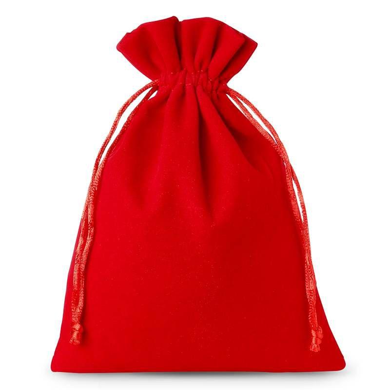 10 szt. Woreczki welurowe 12 x 15 cm - czerwone