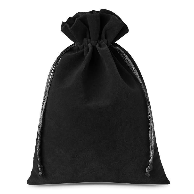 5 szt. Woreczki welurowe 22 x 30 cm - czarne