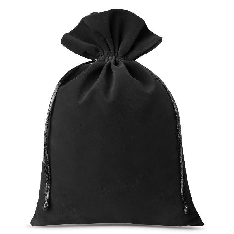 3 szt. Woreczki welurowe 26 x 35 cm - czarne