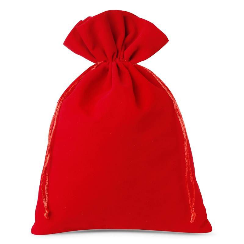 3 szt. Woreczki welurowe 26 x 35 cm - czerwone