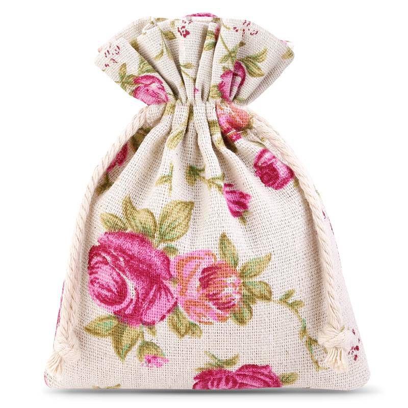 10 szt. Woreczki lniane z nadrukiem 9 x 12 cm - naturalne / róże