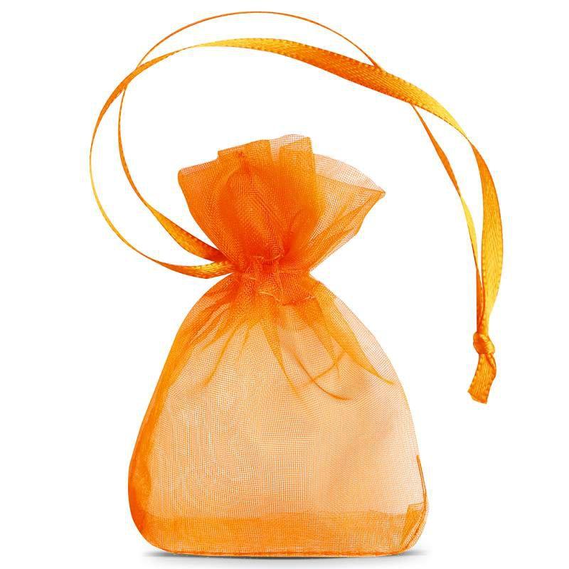 25 szt. Woreczki z organzy 7 x 9 cm (SDB) - pomarańczowe