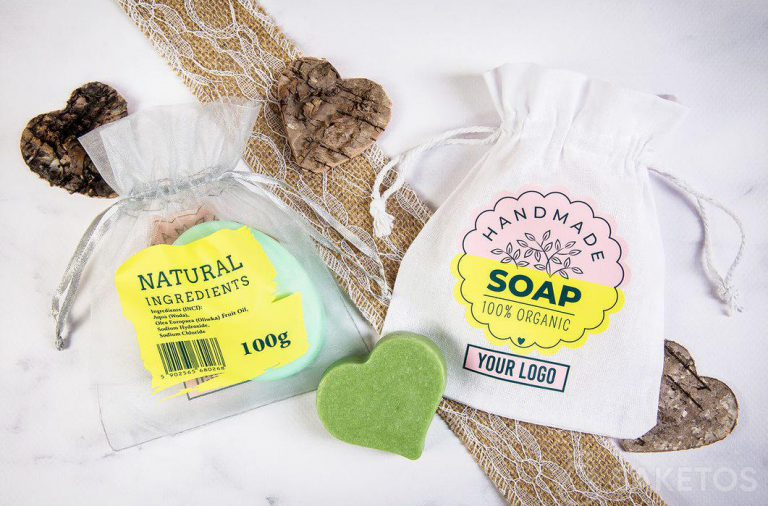 Woreczek z logo jako opakowania na ręcznie robione mydełka